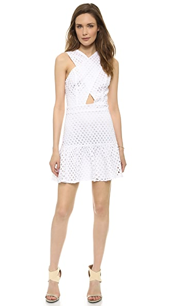 Line & Dot Crossover Neck Eyelet Dress