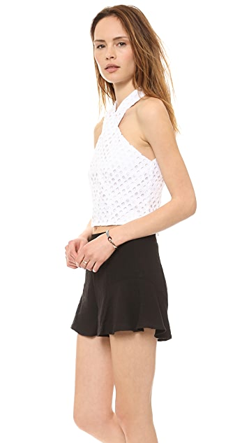 Line & Dot Crossover Neck Eyelet Top