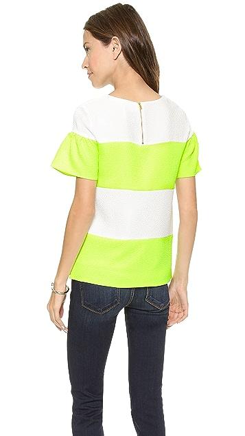 Line & Dot Shirred Sleeve Top
