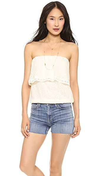 Line & Dot Lace Tube Top