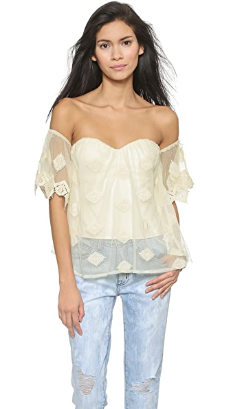 Line & Dot Jean Michel Off Shoulder Crop Top