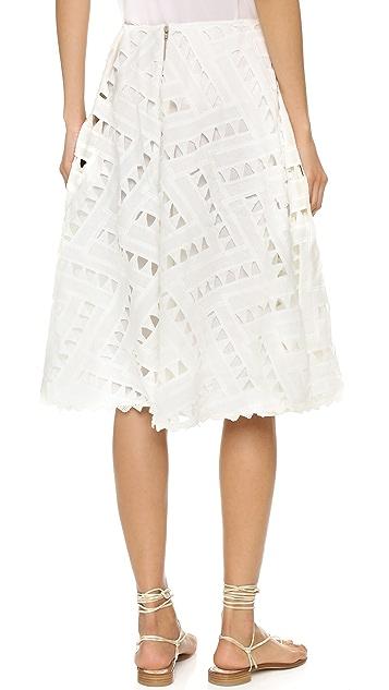 Line & Dot Geo Lace Skirt