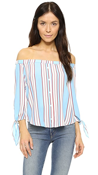 Line & Dot Annabelle Off Shoulder Top In Periwinkle
