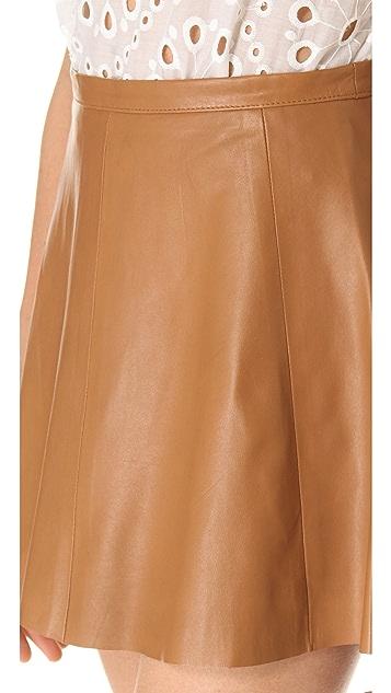 Love Leather Camel Mini Leather Skirt