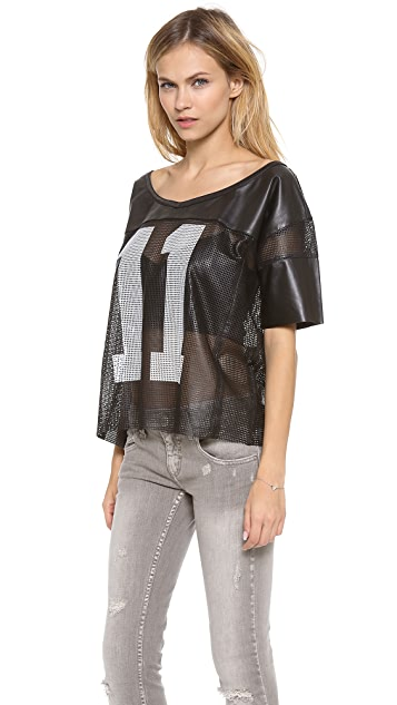 Love Leather Leather Football Jersey Tee