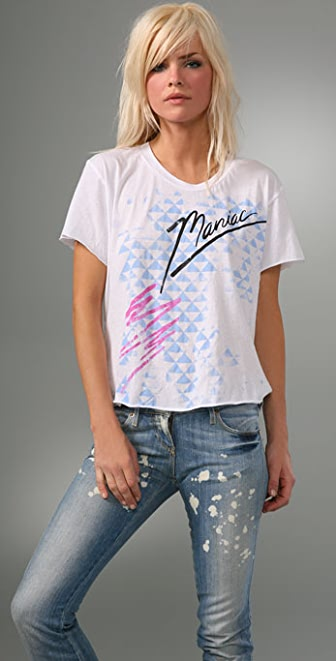 LNA Material Girl Cropped Music Tee