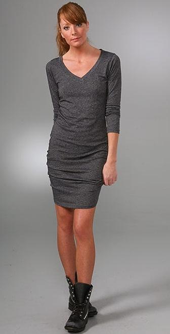 LNA Long Sleeve V Neck Dress