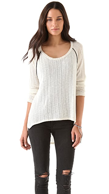 LNA Sweater with Faux Leather Trim