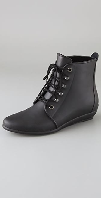 Loeffler Randall Lace Up Rubber Rain Booties