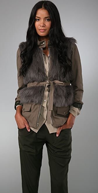 Loeffler Randall Faux Fur Military Jacket