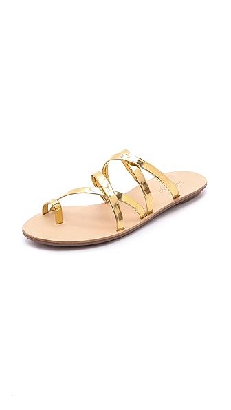 Loeffler Randall Sarie Metallic Strappy Flat Sandals