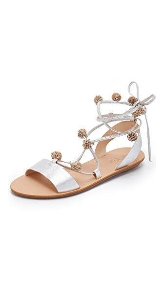 Loeffler Randall Saskia Pom Pom Lace Up Sandals