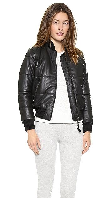 Lot78 Padded Leather Bomber Jacket
