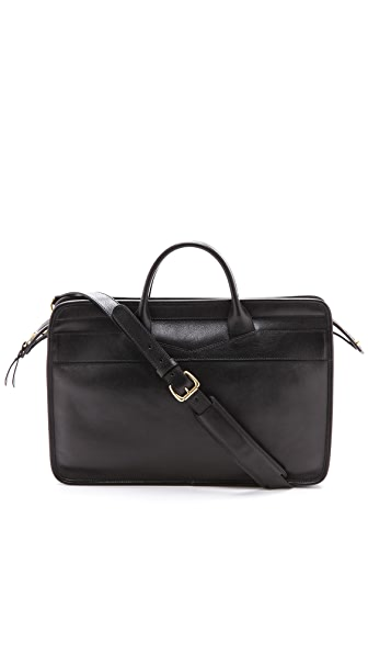 Lotuff Leather Slim Zipper Briefcase