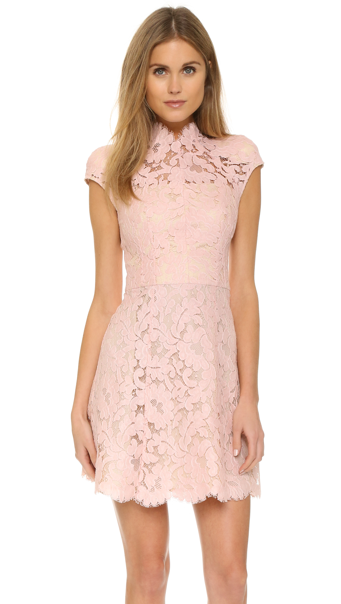 Lover Warrior Lace Mini Dress - Dusty Pink