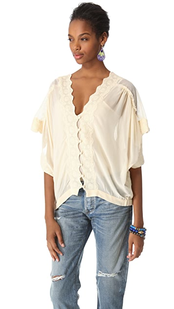 Love Sam Mesh and Lace Button Front Blouse