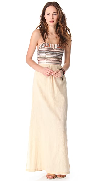 Love Sam Embroidered Stripe Gauze Maxi Dress