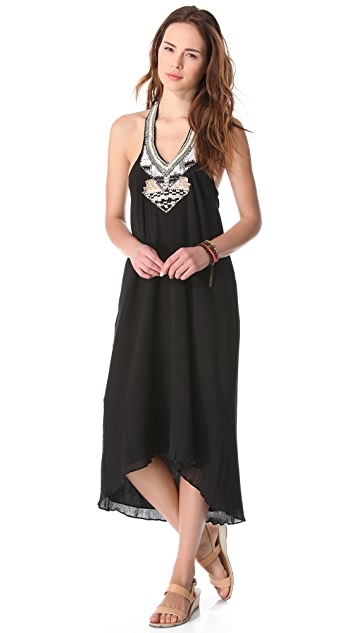 Love Sam Gauze Beaded Halter Maxi Dress