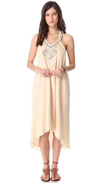 Love Sam Gauze Beaded Halter Maxi Dress