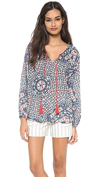 Love Sam Diamond Crossroads Print Blouse