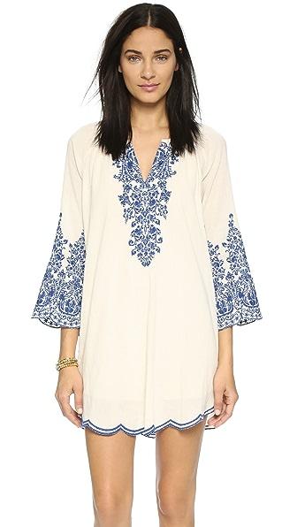 Love Sam Embroidered Dress - Ivory/Indigo