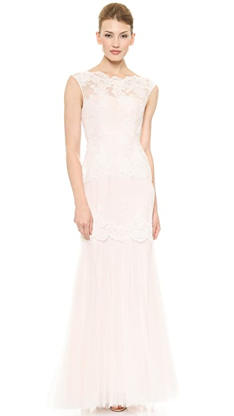 Love, Yu Madison Cap Sleeve Mermaid Gown
