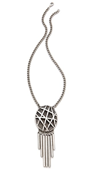 Low Luv x Erin Wasson Oval Cage & Metal Tube Fringe Necklace