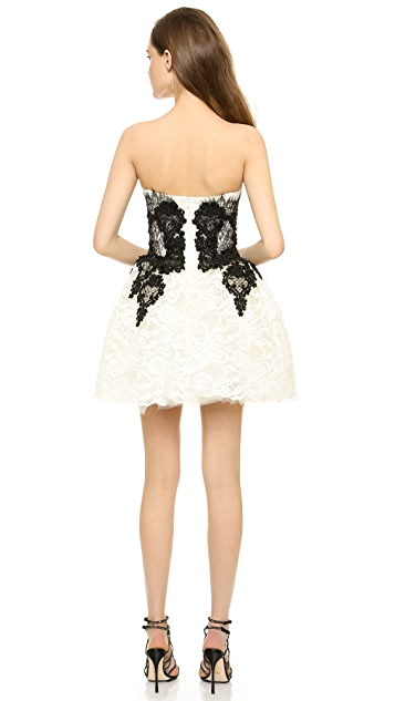 Loyd/Ford Ivory Bustier Feather Dress