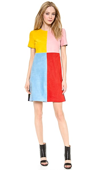 Lisa Perry Suede Patchwork Dress