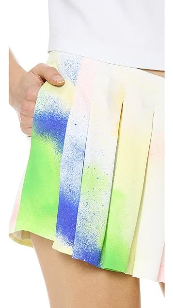 Lisa Perry Spray Paint Pleated Skort