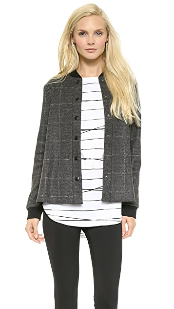 Lisa Perry Windowpane Baseball Jacket