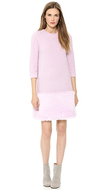 Lisa Perry Faux Fur Hem Dress