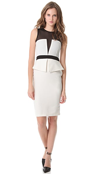 LRK Dita Illusion Bodice Peplum Dress