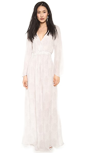 LOVESHACKFANCY City Scales Long Sleeve Maxi Dress