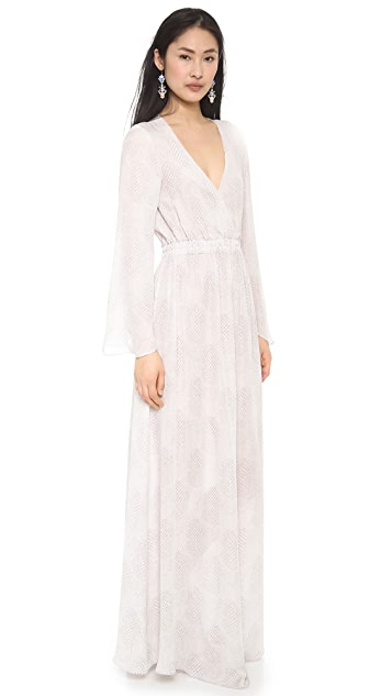 LOVESHACKFANCY City Scales Long Sleeve Maxi Dress
