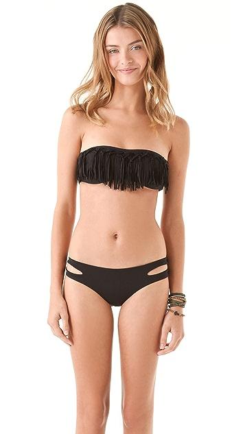 L*Space Knotted Fringe Bandeau Bikini Top