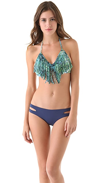 L*Space Viridian Skin Audrey Fringe Bikini Top