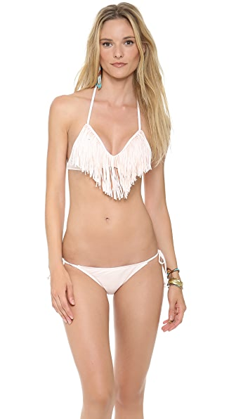 L*Space Sweet & Chic Solids Audrey Fringe Bikini Top