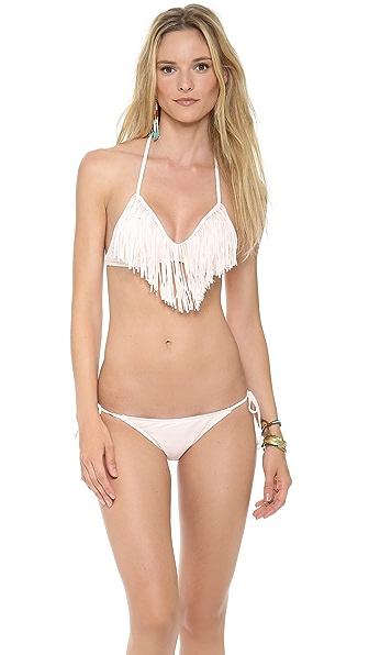 L*Space Sweet & Chic Solids Audrey Fringe Bikini Top