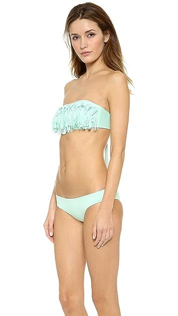 L*Space Fringe Knotted Bandeau Bikini Top