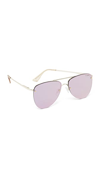 Le Specs The Prince Mirrored Sunglasses - Gold/Blush Peach Revo