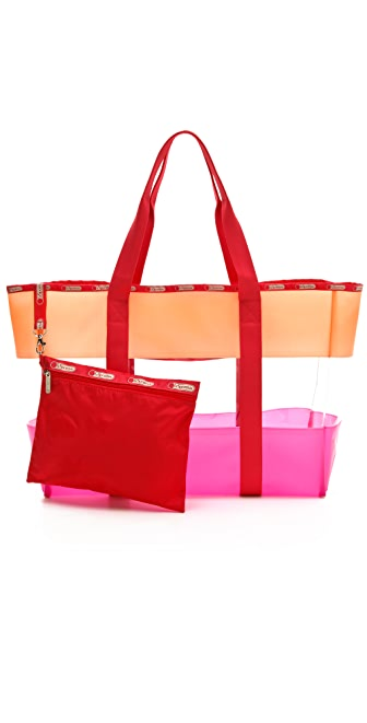 LeSportsac Striped Clear Beach Tote