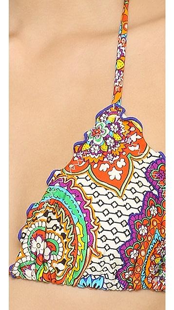 Luli Fama Samba Caracol Wavy Triangle Bikini Top