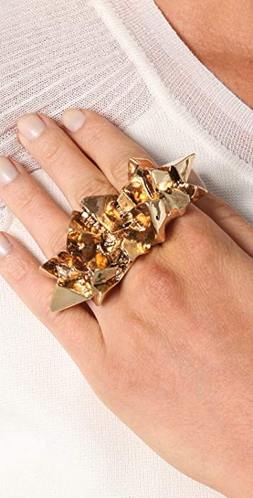 Luv Aj Crystal Chunk Knucklebuster Ring