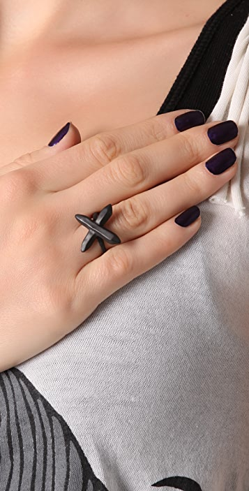 Luv Aj Crystal Cross Ring