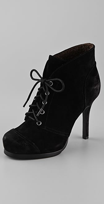 Luxury Rebel Shoes Tania Lace Up Sherpa Booties