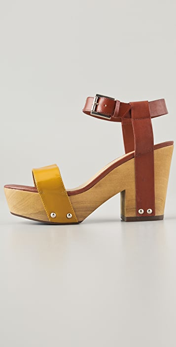 Luxury Rebel Shoes Fern Wood Platform Sandals