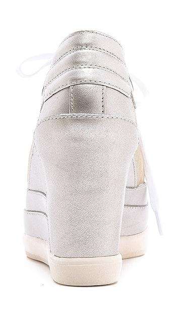 Luxury Rebel Shoes Carlton Metallic Wedge Sneakers