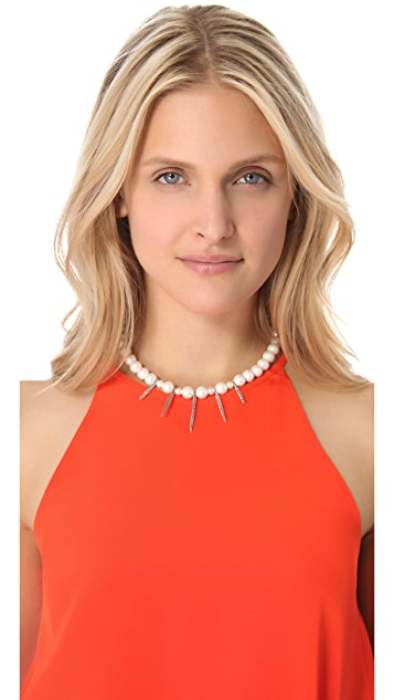 Lauren Wolf Jewelry White Spike Necklace with Cultured Freshwater Pearls