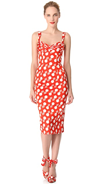 L'Wren Scott Bomb Print Bust Pleat Dress